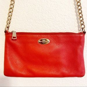 COACH Leather Red Crossbody Good Chain Adjustable